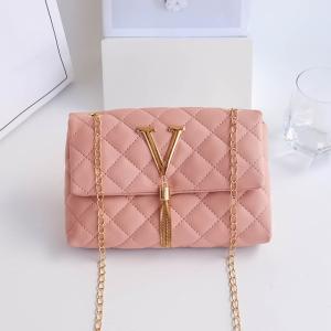 Chain Strap Tassel Patchwork Texture Messenger Bags - Pink