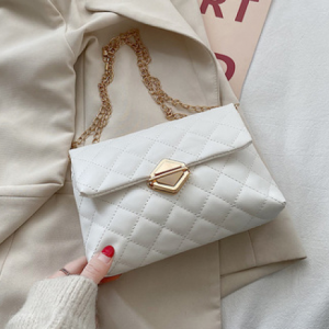 Press Lock Patchwork Texture Chain Strap Messenger Bags - White