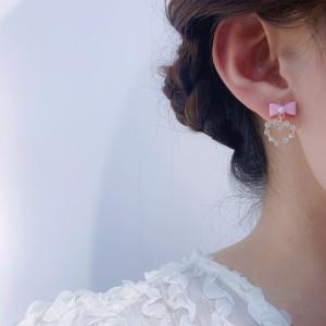 Girls Fashion Pearl Bow Heart Design Earrings - Pink