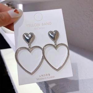 Women Fashion Peach Heart Pendant Earrings - Silver
