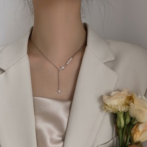 Radiant meteor pearl Star Necklace - Silver