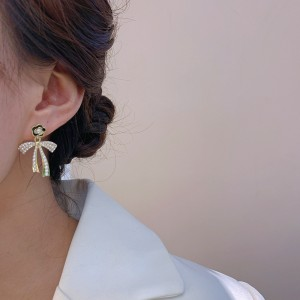 Fashionable Camellia Butterfly Earrings - Golden