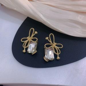 Women Fashion Bow Tie Rhinestone Earrings - Golden