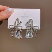 Women Fashion Bow Tie Rhinestone Earrings - Silver