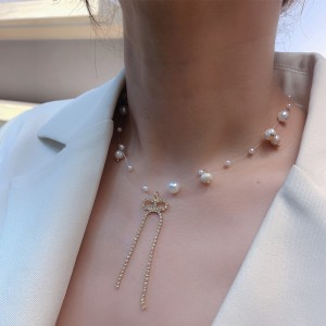 High Quality Pearl Bow Tassel Necklace - Golden