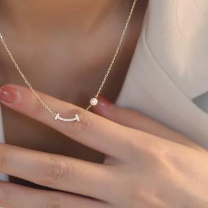Super Flash Smile Pearl Necklace - Golden
