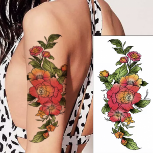 Printed Non Toxic Skin Friendly Easy Pasting Tattoo - Red