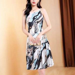 Printed Marble Texture Spaghetti Strap Sleeveless Mini Dress