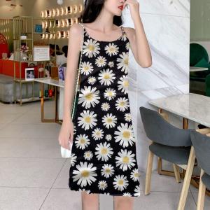 Printed Flower Spaghetti Strap Sleeveless Mini Dress