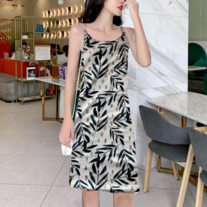 Leaves Print Spaghetti Strap Sleeveless Mini Dress