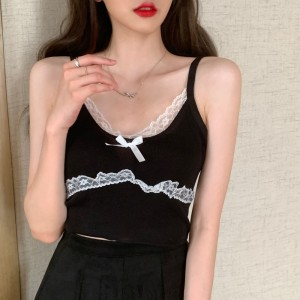Lace Patched Bow Fitted MIni Crop Top - Black
