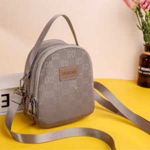 Zipper Closure Printed Premium Quality Handbags - Khaki