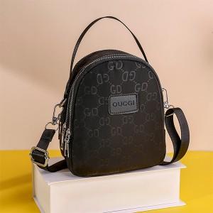 Zipper Closure Printed Premium Quality Handbags - Black
