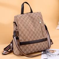 Zipper Closure Printed PU Leather Backpacks - Beige