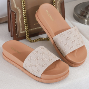 Alphabetic Engrave Thick Sole Casual Slippers - Beige