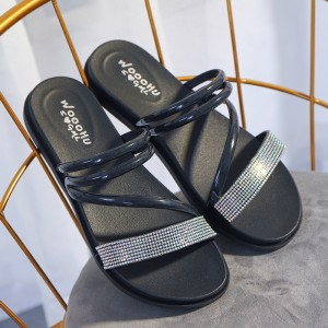 Cross Strappy Crystal Patched Flat Wear Slippers - Black