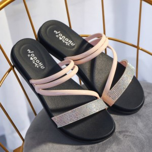 Cross Strappy Crystal Patched Flat Wear Slippers - Apricot