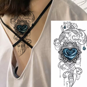 Heart Floral Print Non Toxic Skin Friendly Easy Pasting Tattoo - Blue