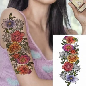 Floral Print Non Toxic Skin Friendly Easy Pasting Tattoo - Multicolor