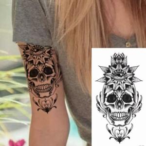 Skull Floral Print Non Toxic Skin Friendly Easy Pasting Tattoo - Black