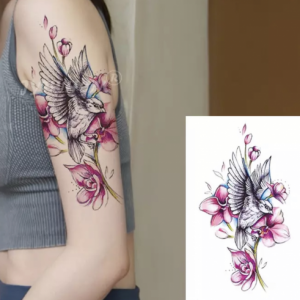Bird Floral Print Non Toxic Skin Friendly Easy Pasting Tattoo - Pink