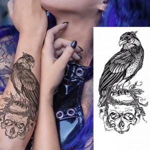 Eagle Print Non Toxic Skin Friendly Easy Pasting Tattoo - Black