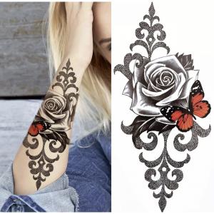 Rose Print Non Toxic Skin Friendly Easy Pasting Tattoo - Black