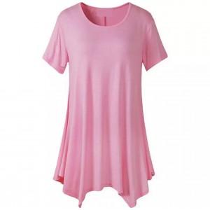 Round Neck Irregular Short Sleeves Solid Color Top - Pink