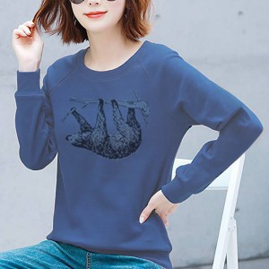 Bear Printed Round Neck Full Sleeves Top - Blue