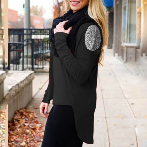 Solid Color Full Sleeves Summer Blouse Top - Black