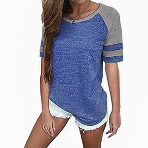 V Neck Contrast Mesh Pattern Summer T-Shirt - Blue