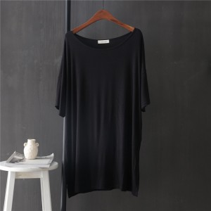 Boat Neck Solid Color Loose Wear Top - Black