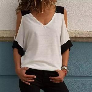 Cold Shoulder Beach Wear Summer Elegant Blouse Top - White