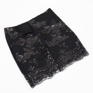 Floral Sequins Decorative Party Wear Women Mini Skirt - Black