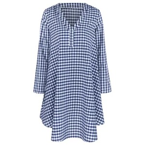 Check Printed V Neck Flared Mini Dress - Blue