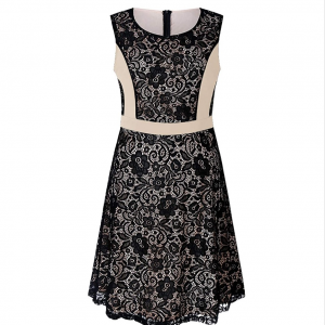 Sleeveless Contrast Floral Patched Mini Dress - Apricot