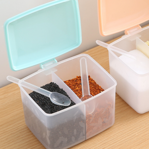 Multi Purpose Round Two Portion Spice Rack With Small Spoon