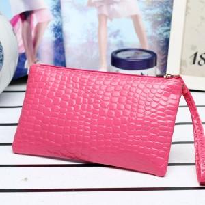 Solid Color Zipper Closure Crocodile Pattern Women Wallet
