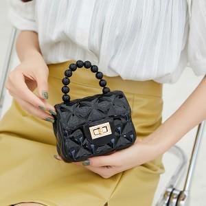Pearl Decorative Hand Twist Lock Women Messenger Bags