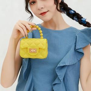 Pearl Decorative Hand Twist Lock Women Messenger Bags - Yellow