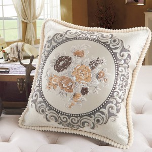 Embroidery Cushion Soft Waist Backrest Office Sofa Pillow Cover