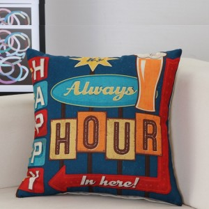 Vintage Graphic Print Home Living Office Sofa Pillow Cover - Light Blue