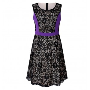 Sleeveless Contrast Floral Patched Mini Dress - Purple