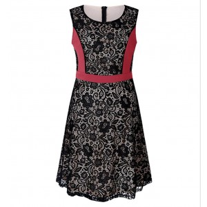 Sleeveless Contrast Floral Patched Mini Dress - Red