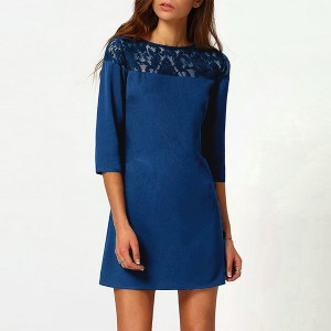 Lace Floral Texture Quarter Sleeves Mini Dress - Blue