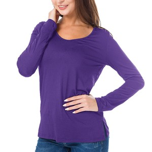 Full Sleeves Solid Color Casual Wear Top - Purple