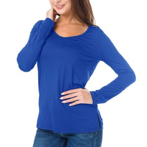 Full Sleeves Solid Color Casual Wear Top - Blue