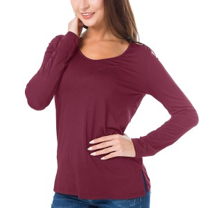 Full Sleeves Solid Color Casual Wear Top - Wine Red