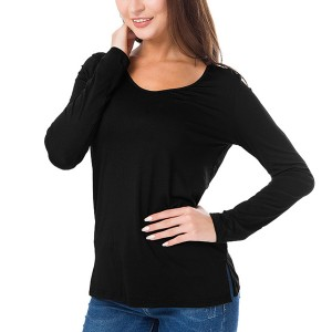 Full Sleeves Solid Color Casual Wear Top - Black