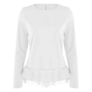 Round Neck Frilled Hem Full Sleeves Blouse Top - White